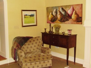 Family Room Pears vignette Interiors by Monique
