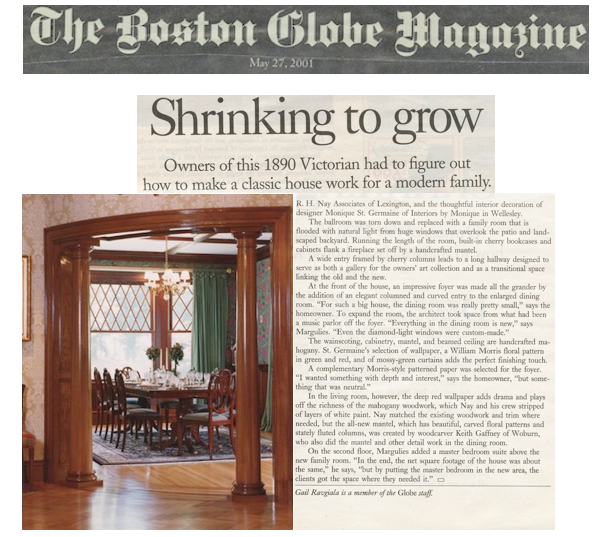 Boston Globe Magazine feature article - Interiors by Monique